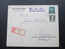 DR 1928 Orts Einschreibebrief Meißen 1 473 MiF Nr. 389 / 394 Rückseitig Hinweis Aufkleber! Achtung! B. Nr. 15160 C 11 27 - Briefe U. Dokumente