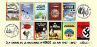 FRANCE 2007 N°34 Albums Fictifs + 2 Cachets Premier Jour FDC TINTIN KUIFJE TIM HERGE GUEBWILLER - Comics