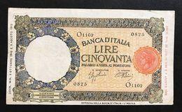 50 Lire 08 10 1943 R.S.I. L'aquila B.I.rara BB  LOTTO 361 - [ 1] …-1946 : Regno