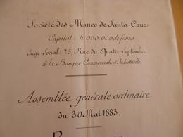 Société Des Mines De Santa Cruz Honduras Assemblée 30/05/1883 Rapport 8 Pages - Historical Documents