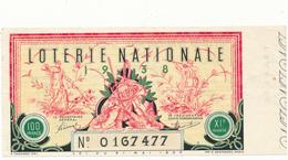 Billet De Loterie Nationale 1938 - La Chasse - Lottery Tickets