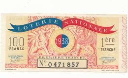 Billet De Loterie Nationale 1938 - Animaux Mythologiques - Lottery Tickets