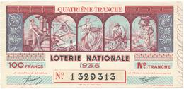 Billet De Loterie Nationale 1938 - Les Métiers - Lottery Tickets