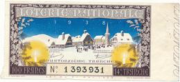 Billet De Loterie Nationale 1938 - Paysage D'Alsace, L'Hiver - Lottery Tickets