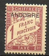 ANDORRE FRANCAIS - 1931-32 - Taxe - N° 6 - (Timbre De 1893 Surchargé : ANDORRE) - Neufs