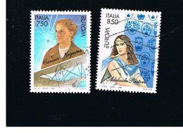 ITALIA REPUBBLICA  - UNIF. 2247,2248  -   1996  EUROPA: DONNE CELEBRI            -            USATO - 1946-.. République