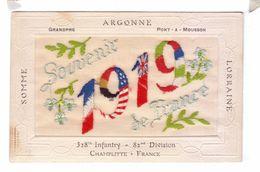 Guerre 14 18 Carte Brodee Drapeau Allies Argonne Grand Pre Pont A Mousson 328 Th Infantry Champlitte Embroidered - Patriotiques
