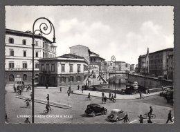 1956 LIVORNO Piazza Cavour E Scali FG V  SEE 2 SCANS Animata Banca Auto D'epoca - Livorno