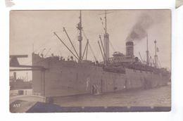 ANTWERP Belgium Carte Photo Rppc American Transport Boat Leaving Troops  Guerre 14 18 Lindstedt Warship USS Anticone - Guerre