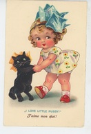 """ENFANTS - LITTLE GIRL - MAEDCHEN - CAT - Jolie Carte Fantaisie Portrait Fillette Et Chat """"I Love Little Pussy ! """" - Dessins D'enfants"""