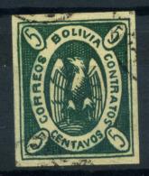 Bolivia 1867 Mi. 1 Usato 100% Condor Nell'ovale - Bolivia