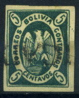 Bolivia 1867 Mi. 1 Usato 100% Condor Nell'ovale, 5 C - Bolivia
