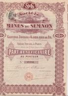 PART BENEFICIAIRE  SOCIETE DES MINES DU SEMNON (ILLE ET VILAINE) MINES D'OR --1910 - Mines
