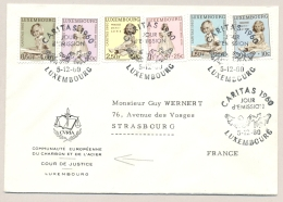 Luxembourg - 1960 - Caritas / Princessen Set - 1st Day On Cover From Luxembourg To Strasbourg / France - Covers & Documents