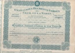 CERTIFICAT NOMINATIF NEUF -  EMAILLERIES REUNIES ET FORGES DE CREIL ET LA SARRE - 1910 - Industrie