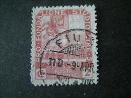FIUME - 1919, PLEBISCITO FONDAZ. STUDIO, Sass. N. 70, 2 Cor.. Usato  TTB, OCCASIONE - 8. Occupazione 1a Guerra