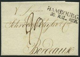 HAMBURG-VORPHILA 1808, HAMBOURG. 4., L2 Auf Brief Nach Bordeaux, Pracht - Thurn Und Taxis