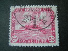 FIUME - 1919, PLEBISCITO FONDAZ. STUDIO, Sass. N. 67, Cent. 60. Usato  TTB, OCCASIONE - 8. Occupazione 1a Guerra