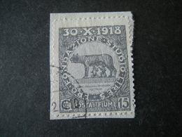 FIUME - 1919, PLEBISCITO FONDAZ. STUDIO, Sass. N. 64, Cent. 15. Usato  TTB, OCCASIONE - 8. Besetzung 1. WK