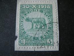 FIUME - 1919, PLEBISCITO FONDAZ. STUDIO, Sass. N. 62, Cent. 5. Usato  TTB, OCCASIONE - 8. Besetzung 1. WK