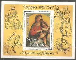 Liberia 1983 Yvertn° Bloc 104 *** MNH Cote 30 FF Raphael - Liberia