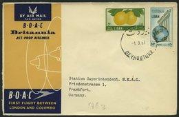 LIBANON 559,565 BRIEF, 1957, B.O.A.C. Erstflug London-Colombo, Brief Nach Frankfurt, Pracht - Lebanon