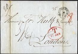 HAMBURG - GRENZÜBERGANGSSTEMPEL 1845, T 17 JAN, In Rot Auf Brief Von Stockholm (K1) Nach London, Rückseitiger Roter Datu - Deutschland