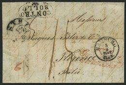 HAMBURG - THURN UND TAXISCHES O.P.A. 1847, HAMBURG Th.& T., K3 Auf Brief Nach Florenz, Durchgansstemel K2 AUSTRIA Nr.4, - Deutschland
