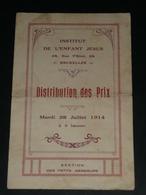 Vieux Papier, Programme De Distribution Des Prix 1914, Petits Messieurs, Institut De L'Enfant JESUS Bruxelle - Diplômes & Bulletins Scolaires
