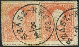 ÖSTERREICH 13II Paar BrfStk, 1859, 5 Kr. Rot, Type II, Im Waagerechten Paar Mit Ungarischem K1 SZASZ-REGEN, Prachtbriefs - Used Stamps