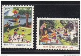 INDIA. 2016,  Children's Day, Childrens, Painting, Tree, Boat, Set 2 V, MNH, (**) - Inde