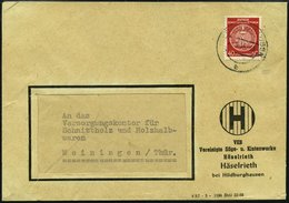 DIENSTMARKEN A D 33XII BRIEF, 1956, 40 Pf. Rot, Faserpapier, Wz. 2XII, Einzelfrankatur Auf Fensterumschlag Nach Meininge - DDR