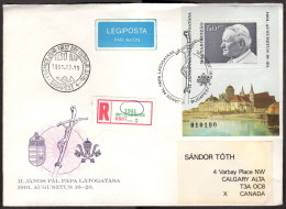 HUN SC #3300 SS 1991 Pope John Paul II Visit, REG'D FDC 07-15-1991 - FDC