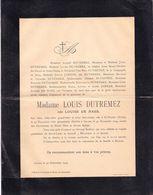 DOODSBRIEF - LETTRE DE DECES ** SINT NIKLAAS - ANTWERPEN - MADAME LOUIS DUTREMEZ ( Née DE HAES )  - 1826 - 1904 ** - Overlijden
