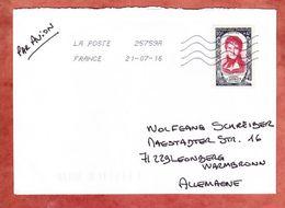 Brief, EF Carnot, St Maurice Nach Leonberg 2016 (46001) - Poststempel (Briefe)