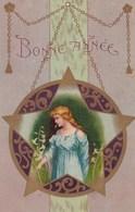 Illustrée Art Nouveau Jeune Fille Dans Un Champ De Fleur De Lys Etoile De David - Anno Nuovo