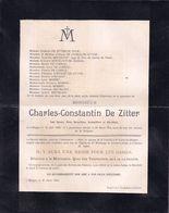 DOODSBRIEF - LETTRE DE DECES ** BRUGES - CHARLES DE ZITTER - 1823 - 1904 ** - Overlijden