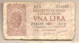 """Italia - Biglietto Di Stato Circolato Da 1 £ - Luogotenenza - """"Italia Laureata"""" P-29b - 1944 - [ 1] …-1946 : Kingdom"""