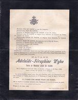 DOODSBRIEF - LETTRE DE DECES ** IZEGEM BRUGGE - ADELAIDE WYBO - DE HAENE  - 1821 - 1900 ** - Overlijden