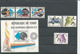 TCHAD  Scott 260-262, 263, 289-291 Yvert 255-257, BF13, 283-285 (6+bloc) O Cote 5,00$ 1972 - Tchad (1960-...)