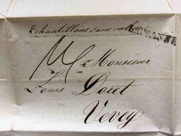 SUISSE 1825 Lettre Cachet Linéaire LAUSANNE, échantillons Sans Valeur (apparemment Du Tissu), Voir Texte, Pour Vevey - ...-1845 Préphilatélie