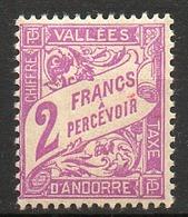 ANDORRE FRANCAIS - 1938-41 - Taxe - N° 19 - 2 F. Violet - Andorre Français