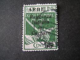 ARBE - 1920, CARNARO Soprast, Caratteri Piccoli, Sass. N. 5, Cent. 5., Usato  TTB, OCCASIONE - 8. Occupazione 1a Guerra