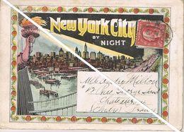NEW YORK CITY BY NIGHT - Carnet Multivues De 22 Vues - 1890 - Adressé Par La Poste - Mehransichten, Panoramakarten