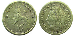 02906 GETTONE JETON TOKEN REPRO COIN 10 NEW DOLLAR CINQUENTA CENTAVOS 1697 - Tokens & Medals