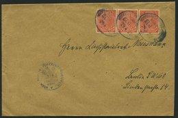 DIENSTMARKEN D 22 BRIEF, 1922, 1 M. Dkl`rotorange Im Dreierstreifen Auf Brief Mit Bahnpoststempeln HOPPEGARTEN ALTLANDSB - Dienstpost