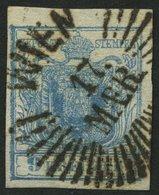 ÖSTERREICH 5X O, 1850, 9 Kr. Blau, Handpapier, Type IIa, Sternstempel WIEN, Kabinett - Austria