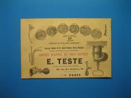 (1899) Cornes D'Appel Pour Tramways, Chemins De Fer, Sapeurs-Pompiers, Marine - E. TESTE - Rue Des Archives à Paris - Vieux Papiers