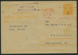 AMERIK. U. BRITISCHE ZONE - GANZSACHEN P 905 BRIEF, 3.4.1946, 6 Pf. Gelb Auf Grausämisch Mit Rotem Freistempler DÜSSELDO - Bizone