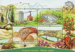 2016 Kzakhstan  -Almaty Region - MS/ Block - Paper - MNH** - Mideo Skating Ring, Phesants, Water Falls, Hydropower - Kasachstan